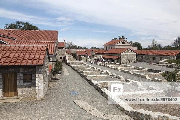 Excavations and the reconstruction of the Villa Urbana in the Roman town of Carnuntum  Petronell Open-Air Museum  Carnuntum Archaeological Park  Lower Austria  Austria  Europe