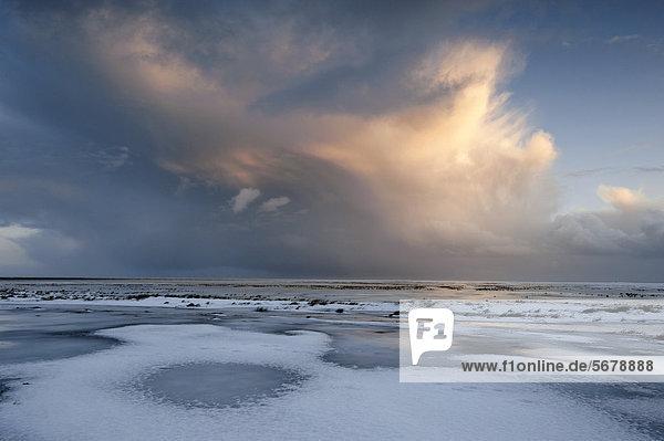 Cumulonimbuswolke über verschneiter Küstenlandschaft im Abendlicht  Südisland  Island  Europa
