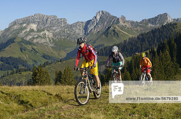 Mountainbiker bei der Auffahrt zum Mittelberg  Hugeligrat  Saanen  Gstaad  Saanenland  Berner Oberland  Schweiz  Europa