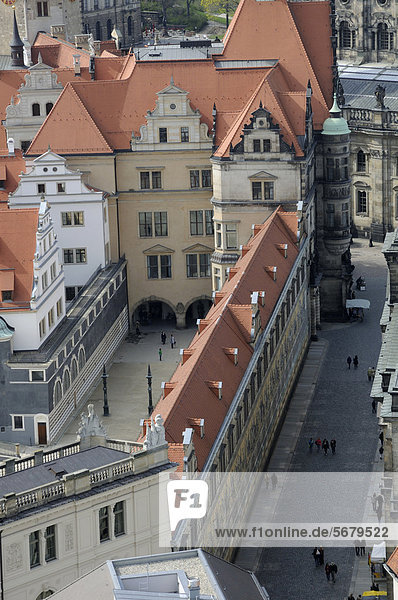Residenzschloss  Dresden Castle  with Procession of Princes  Dresden  Saxony  Germany  Europe