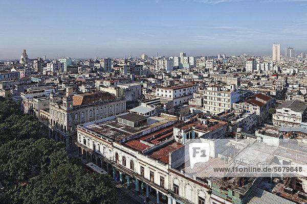 Prado  Paseo de Marti  tree-lined boulevard  panoramic view over the rooftops of Havana  Villa San Cristobal de La Habana  La Habana  Havana  old town  UNESCO World Heritage Site  Republic of Cuba  Caribbean  Central America