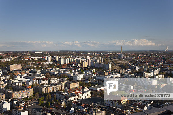 City panorama from the City-Hochhaus building  MDR Tower  looking south-east  Leipzig  Germany  Europe