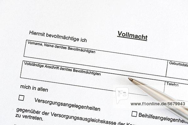 Vollmacht Formular Deutschland Europa Ibluni02237009