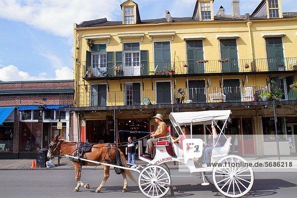 Frau  Mann  fahren  Tier  Balkon  Architektur  Galerie  Maultier  Transport  denkmalgeschütztes Gebäude  French Quarter  Louisiana  New Orleans