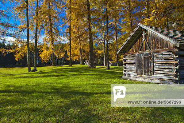 Herbstlandschaft mit Heuschober in Nassereith  Österreich Herbstlandschaft mit Heuschober in Nassereith, Österreich