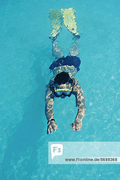 Flosse Flossen Frau Schnorchel schwimmen