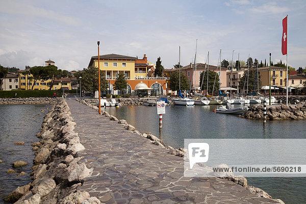 Stone jetty at the harbour  Bardolino  Lake Garda  Veneto  Italy  Europe  PublicGround