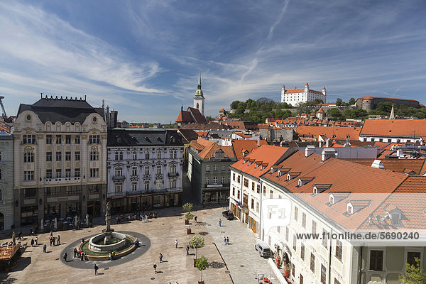 Main square of the Old Town of Bratislava  Slovak Republic  Europe