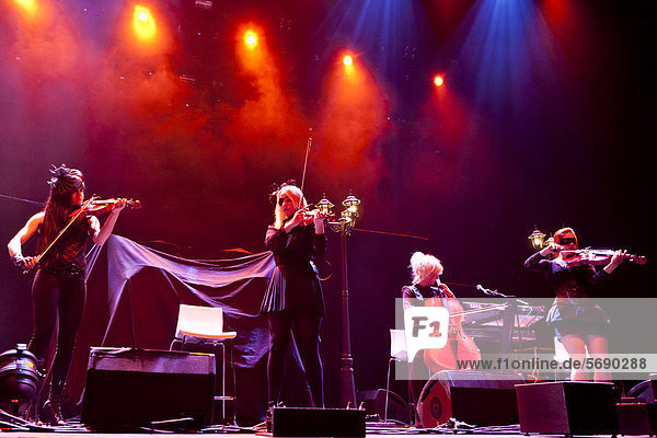 'The German pop  rock  classical and gothic string quartet ''Eklipse''  performing live at the Hallenstadion in Zurich  Switzerland  Europe'