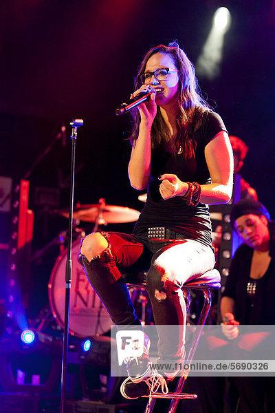 Swiss singer Stefanie Heinzmann performing live in the Schueuer concert hall  Lucerne  Switzerland  Europe