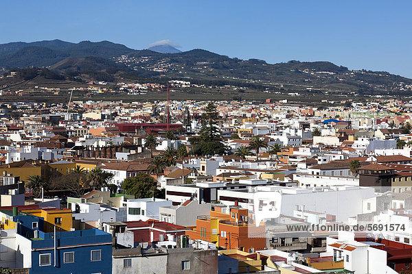 View across the rooftops of La Laguna  northeastern Tenerife  Tenerife  Canary Islands  Spain  Europe