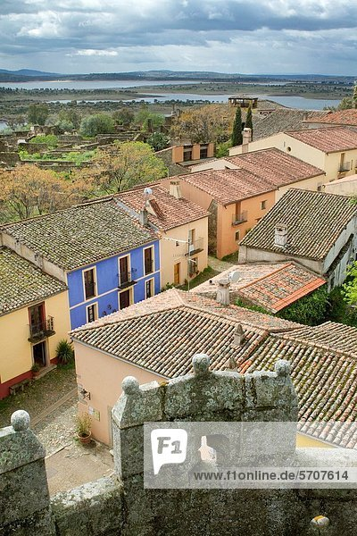 Overview of the deserted village of Granadilla declarated Historical-Artistic Site and its houses reconstructed  next to the Garbiel y Galán Reservoir Cáceres Extremadura Spain