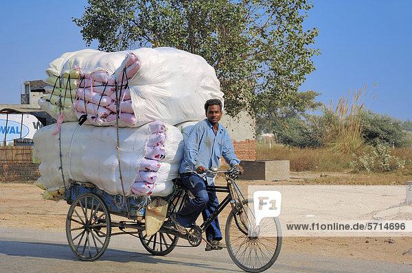 Inder mit beladener Fahrrad-Rikscha  Rajasthan  Indien  Asien  ÖffentlicherGrund