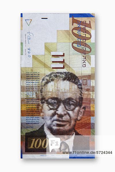 Israelische New Shekel-Banknote auf weißem Hintergrund