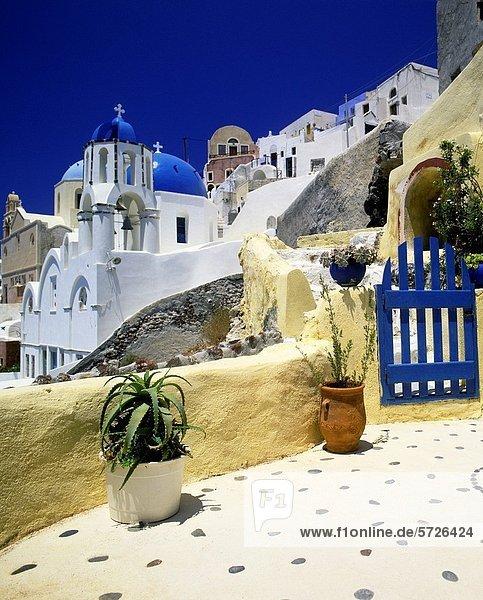 Garten Insel Santorin Ägäisches Meer Ägäis Kykladen Griechenland Oia Ia