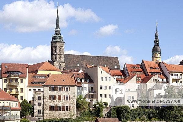 Blick auf die historische Altstadt  Bautzen  Budysin  Lausitz  Oberlausitz  Sachsen  Deutschland  Europa  ÖffentlicherGrund