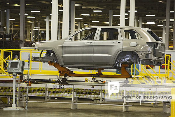 An auto body moves along the assembly line at Chrysler's Jefferson North Assembly Plant  Detroit  Michigan  USA