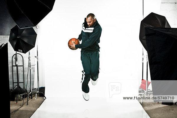 Basketball player at photo shoot