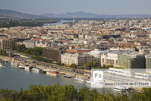 Overlooking Budapest Danube river and Budapest skyline  Hungary  Europe