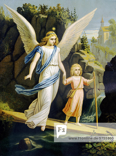 Guardian angel leading a child across a bridge  print  around 1900  in private hands