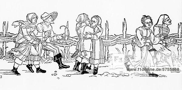 Kirchweih in Mögeldorf  Nürnberg  Mittelfranken  Franken  Bayern  Deutschland  Europa  Holzschnitt  um 1900 Kirchweih in Mögeldorf, Nürnberg, Mittelfranken, Franken, Bayern, Deutschland, Europa, Holzschnitt, um 1900