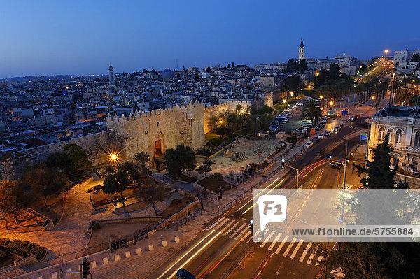 Jerusalem Hauptstadt Damaskus Hauptstadt Wand Wohnhaus Großstadt Eingang Naher Osten Abenddämmerung Gast Israel