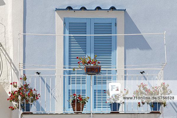 Farbe Farben Europa Tür blau streichen streicht streichend anstreichen anstreichend Jalousie Kampanien Golf von Neapel Italien Pastell