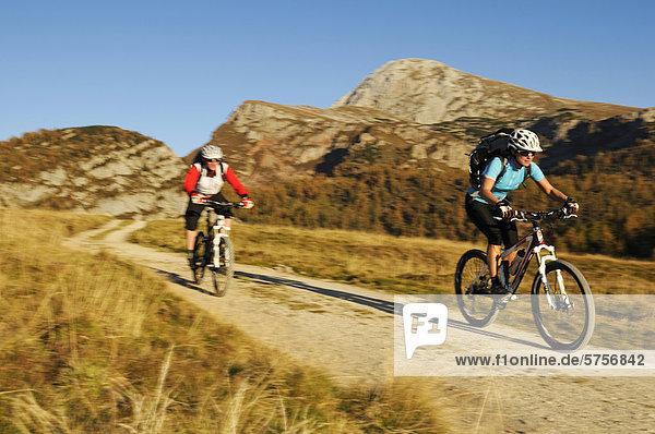 Mountainbiker auf dem Weg zur Gotzenalm  Berchtesgadener Land  Oberbayern  Bayern  Deutschland  Europa