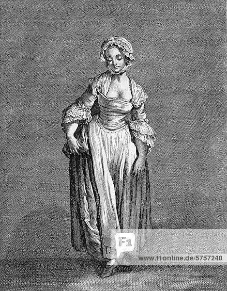 Modebild  Kupferstich von J. B. Greuze  Frankreich  1760