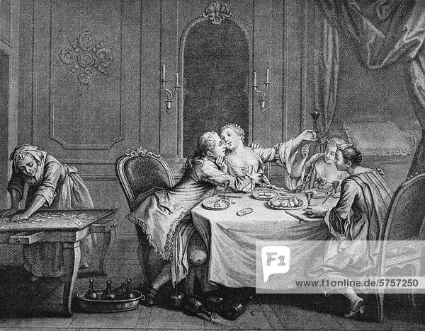 Galantes Souper in einem Petite Maison  französischer Kupferstich  1850
