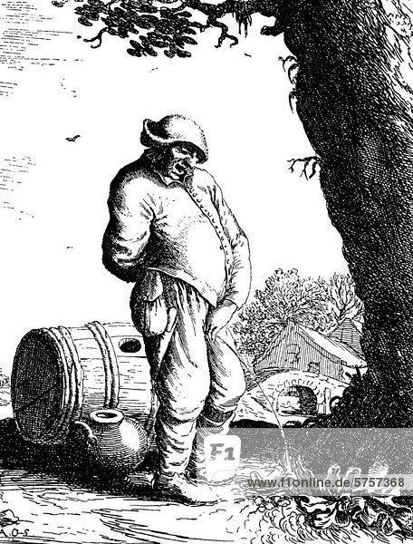 Der pissende Bauer  Kupferstich von Adrian v. Ostade  16. Jahrhundert