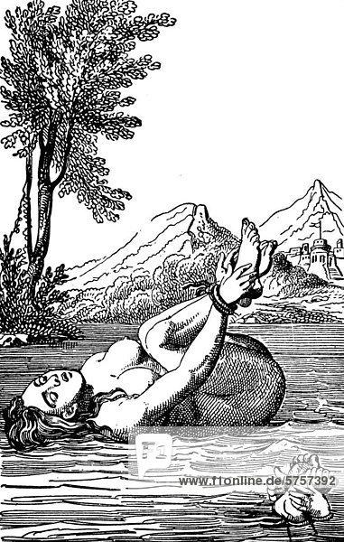 Die Hexenprobe  nach einem Holzschnitt aus dem 16. Jahrhundert