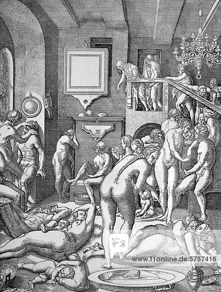 Badestubenleben  Kupferstich von Aldegrever nach einer Zeichnung von Virgil Solis  16. Jahrhundert
