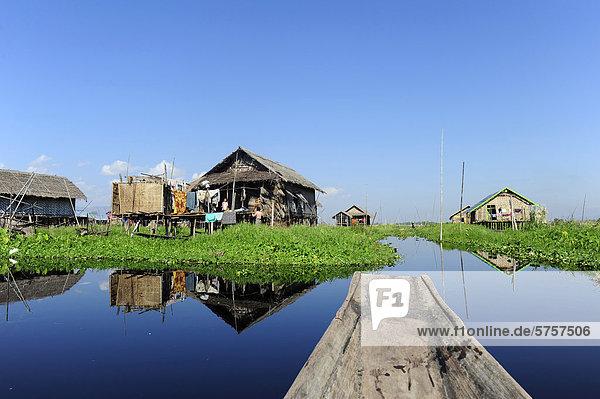 House on stilts at Inle Lake  Burma  Myanmar  Southeast Asia  Asia