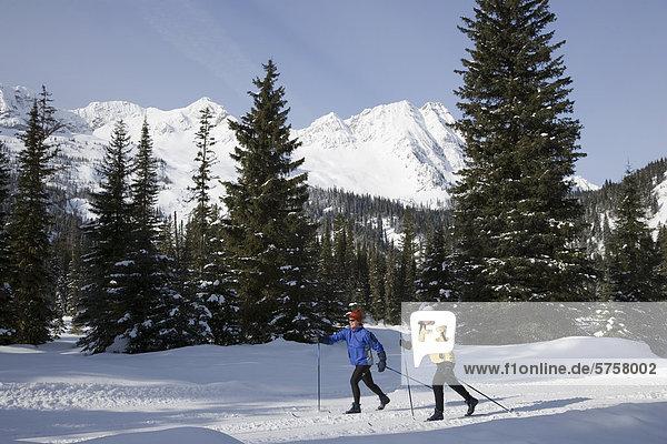 Zwei junge Frauen Langlauf auf einem Trail in Island Lake Resort  Fernie  Britisch-Kolumbien  Kanada.