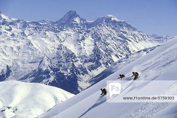 Skifahrer Coast Mountains  British Columbia  Kanada.