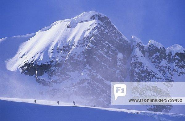 Drei Skifahrer nähert sich Kitnayakwa Peak im Howson Range  Coast Mountains  British Columbia  Kanada.