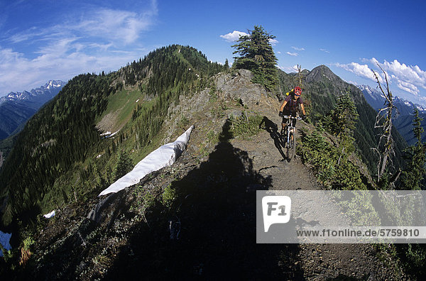 Frau Mountainbike auf Ridgeline  New Denver  British Columbia  Kanada.