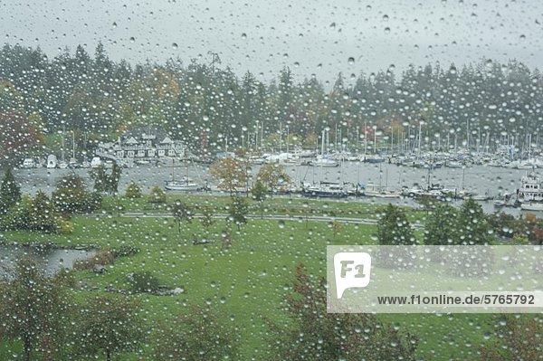 Devon Harbour Park und Vancouver Rowing Club im Regen  Vancouver  British Columbia  Kanada
