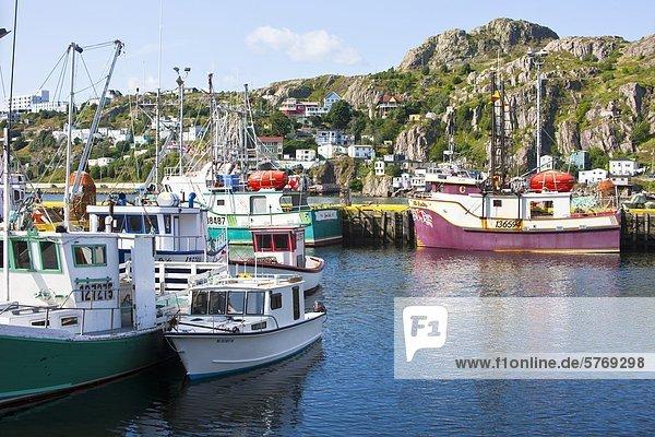 Hafen Boot Hintergrund Dock angeln Süden Neufundland Batterie Kanada