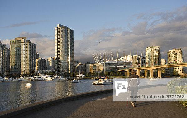 Cambie Bridge  die Skyline der Stadt mit neuen Klappdach auf BC Place Stadium  False Creek  Vancouver  British Columbia  Kanada