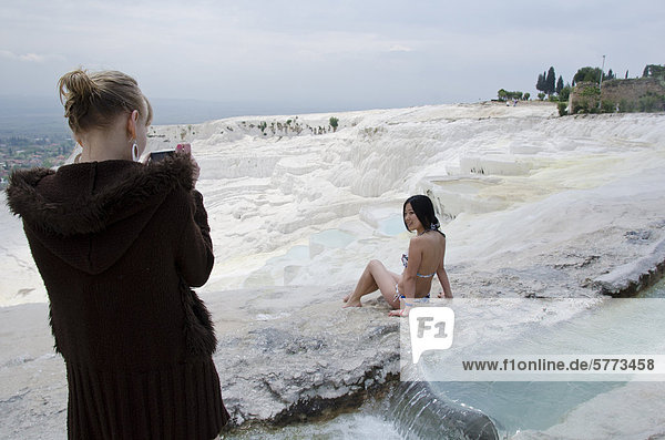 Pamukkale hot springs and travertines  terraces of carbonate minerals left by the flowing water in Denizli Province in southwestern Turkey