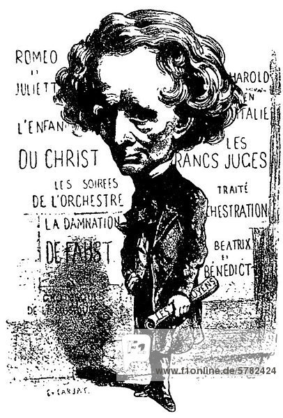 Louis Hector Berlioz  historical caricature by Etienne Carjat  a French journalist  caricaturist and photographer
