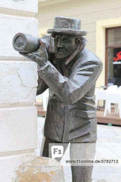 Bronze statue of a photographer  Bratislava  Slovak Republic  Europe  PublicGround