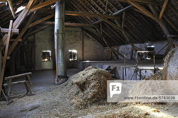 Hayloft of a small farmer who quit  Middle Franconia  Bavaria  Germany  Europe