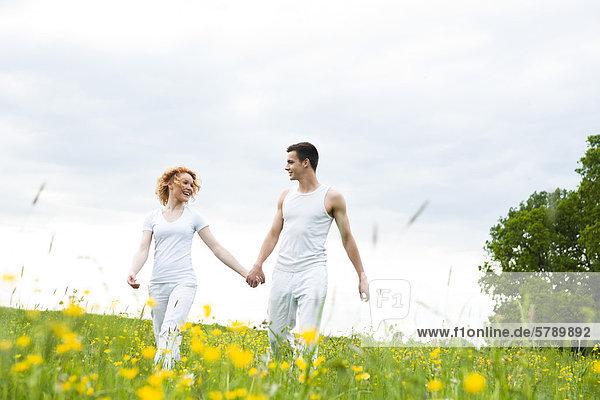 Junges Paar geht Hand in Hand auf einer Wiese