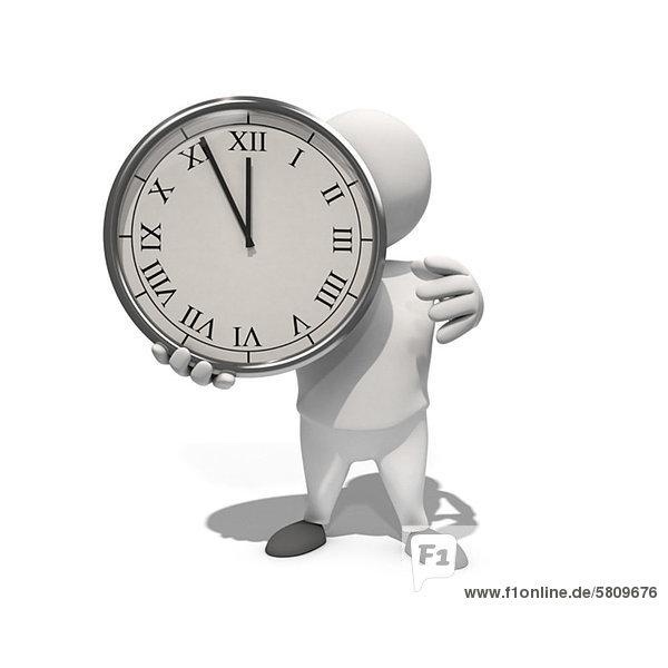 Menschenähnliche Figur hält eine Uhr  CGI