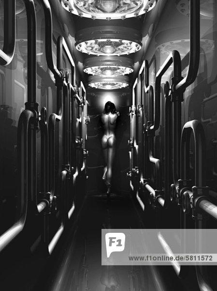 Nackte Frau steht in einem Gang mit einer Rohrleitung  Illustration