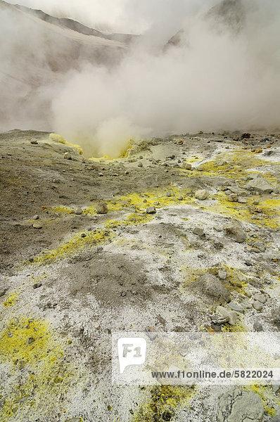 Dampf verdunstet Mutnowski Vulkan Bereich auf Kamtschatka