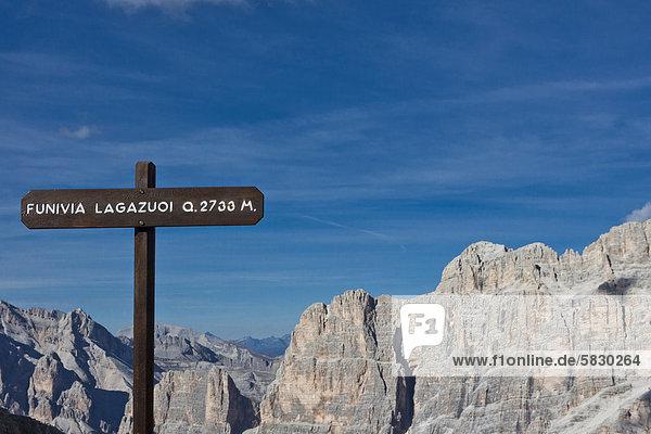 Europa Zeichen Dolomiten Seilbahn Italien Signal